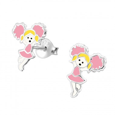 Cheerleader - 925 Sterling Silver Colorful ear studs for kids A4S31255