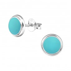 Round - 925 Sterling Silver Colorful ear studs for kids A4S31342