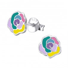 Rose - 925 Sterling Silver Colorful ear studs for kids A4S31564