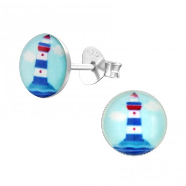 Lighthouse - 925 Sterling Silver Colorful ear studs for kids A4S31600