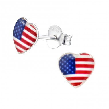 Usa Heart - 925 Sterling Silver Colorful ear studs for kids A4S31663