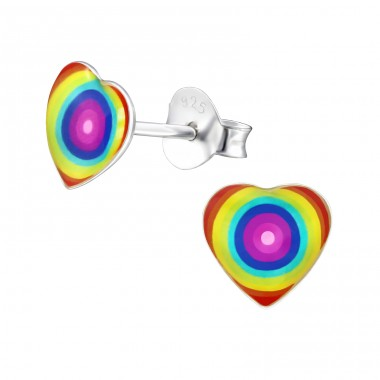Grovey Heart - 925 Sterling Silver Colorful ear studs for kids A4S31704