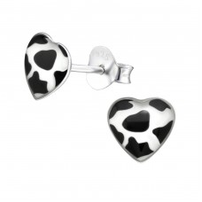 Cow Print Heart - 925 Sterling Silver Colorful ear studs for kids A4S31705