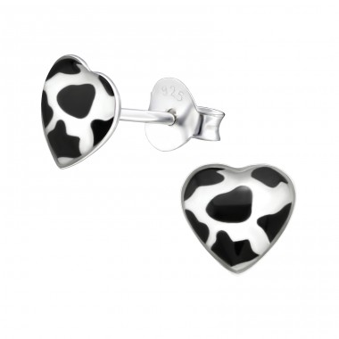 Cow Print Heart - 925 Sterling Silver Ear studs with enamel colors A4S31705