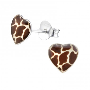 Giraffe Print Heart - 925 Sterling Silver Colorful ear studs for kids A4S31706