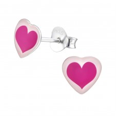 Heart - 925 Sterling Silver Colorful ear studs for kids A4S31707
