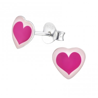 Heart - 925 Sterling Silver Ear studs with enamel colors A4S31707