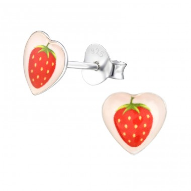 I Love Strawberry - 925 Sterling Silver Ear studs with enamel colors A4S31708