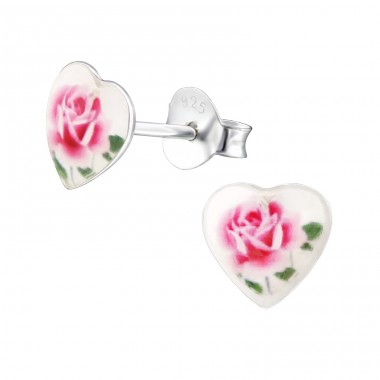 I Love Flowers - 925 Sterling Silver Colorful ear studs for kids A4S31709