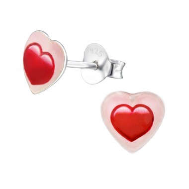 Heart - 925 Sterling Silver Ear studs with enamel colors A4S31710