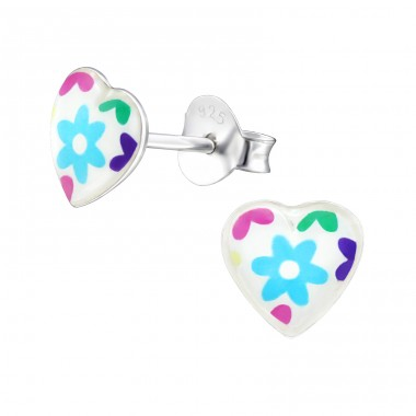 I Love Flowers - 925 Sterling Silver Ear studs with enamel colors A4S31711