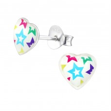 Stars - 925 Sterling Silver Colorful ear studs for kids A4S31712
