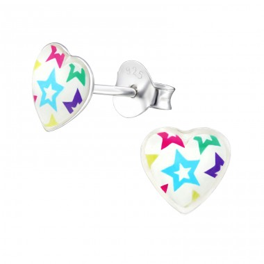 Stars - 925 Sterling Silver Ear studs with enamel colors A4S31712