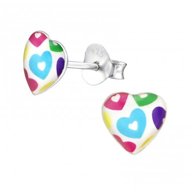 Hearts - 925 Sterling Silver Colorful ear studs for kids A4S31713