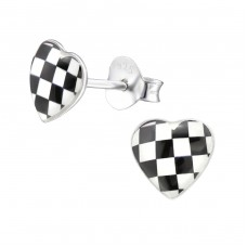 Checkered Heart - 925 Sterling Silver Colorful ear studs for kids A4S31714
