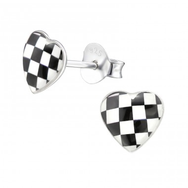 Checkered Heart - 925 Sterling Silver Ear studs with enamel colors A4S31714