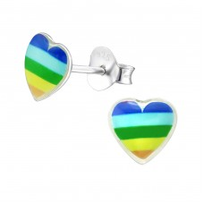 Rainbow Heart - 925 Sterling Silver Colorful ear studs for kids A4S31715