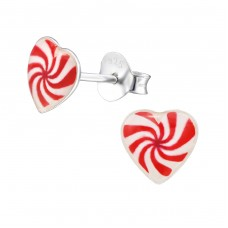 Swirling Heart - 925 Sterling Silver Colorful ear studs for kids A4S31716