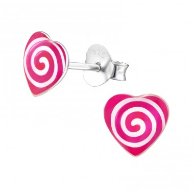 Spiraling Heart - 925 Sterling Silver Colorful ear studs for kids A4S31717
