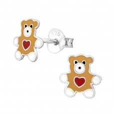 Bear - 925 Sterling Silver Colorful ear studs for kids A4S31809