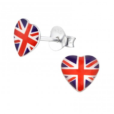 Uk Heart - 925 Sterling Silver Colorful ear studs for kids A4S31932