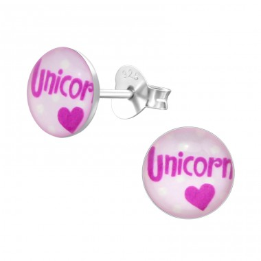 Unicorn - 925 Sterling Silver Ear studs with enamel colors A4S31940