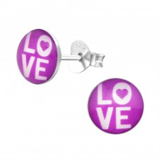 Love - 925 Sterling Silver Colorful ear studs for kids A4S31941