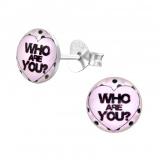 Who Are You? - 925 Sterling Silver Colorful ear studs for kids A4S31943