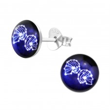 Gemini Zodiac Sign - 925 Sterling Silver Colorful ear studs for kids A4S31947