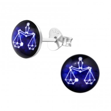 Libra Zodiac Sign - 925 Sterling Silver Colorful ear studs for kids A4S31951
