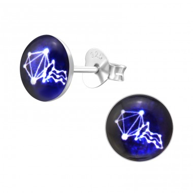 Aquarius Zodiac Sign - 925 Sterling Silver Ear studs with enamel colors A4S31955