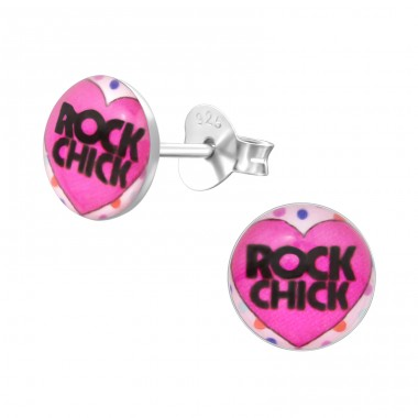 Rock Chick - 925 Sterling Silver Ear studs with enamel colors A4S31956