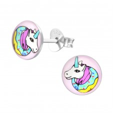 Unicorn - 925 Sterling Silver Colorful ear studs for kids A4S31957