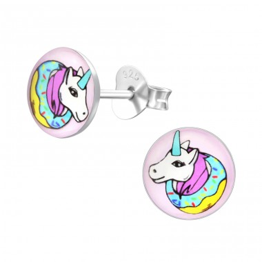 Unicorn - 925 Sterling Silver Ear studs with enamel colors A4S31957