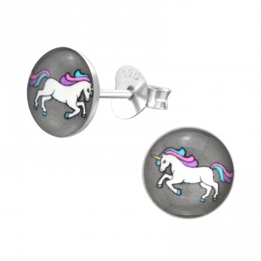 Unicorn - 925 Sterling Silver Ear studs with enamel colors A4S31958