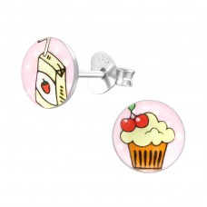 Cupcake - 925 Sterling Silver Colorful ear studs for kids A4S31959