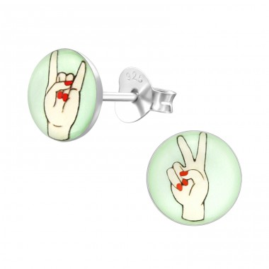 Rock And Roll - 925 Sterling Silver Colorful ear studs for kids A4S31960