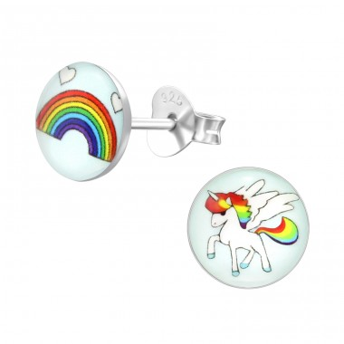 Rainbow And Unicorn - 925 Sterling Silver Colorful ear studs for kids A4S31961