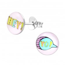 Hey ! Yo ! - 925 Sterling Silver Colorful ear studs for kids A4S31962