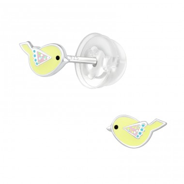 Bird - 925 Sterling Silver Ear studs with enamel colors A4S32169