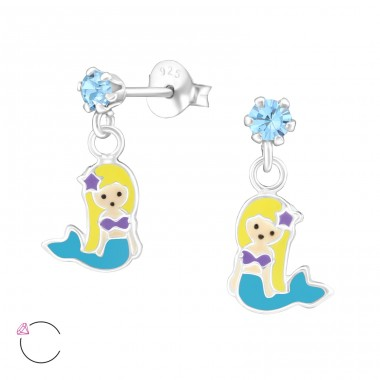 Hanging Mermaids - 925 Sterling Silver Ear studs with enamel colors A4S32844