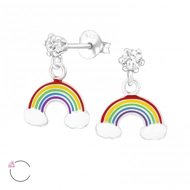 Hanging Rainbow - 925 Sterling Silver Ear studs with enamel colors A4S32856