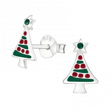 Christmas Tree - 925 Sterling Silver Ear studs with enamel colors A4S32930