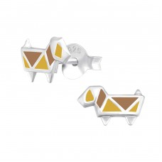 Dog - 925 Sterling Silver Colorful ear studs for kids A4S33011