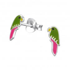 Parrot - 925 Sterling Silver Colorful ear studs for kids A4S33013