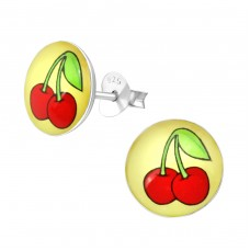 Cherry - 925 Sterling Silver Colorful ear studs for kids A4S33063