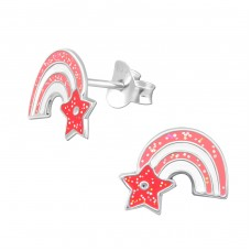 Rainbow - 925 Sterling Silver Colorful ear studs for kids A4S33514