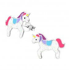 Unicorn  - 925 Sterling Silver Colorful Earrings For Kids A4S33515