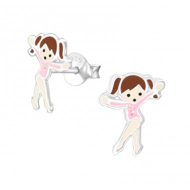 Ballet Dancer - 925 Sterling Silver Colorful ear studs for kids A4S33522