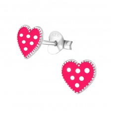 Heart - 925 Sterling Silver Colorful ear studs for kids A4S33530
